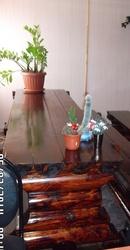 Масссивные столы из бревна в баню